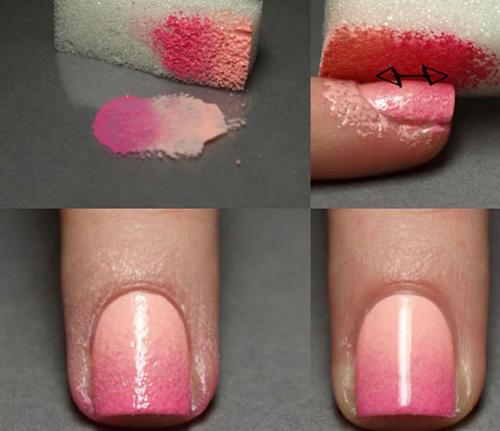 Dùng một miếng mút để tô phần sơn đã được mix lên móng. Sau khi lau sạch phần hơn thừa, đánh thêm nước sơn bóng, bạn sẽ có được màu móng ấn tượng như hình.
